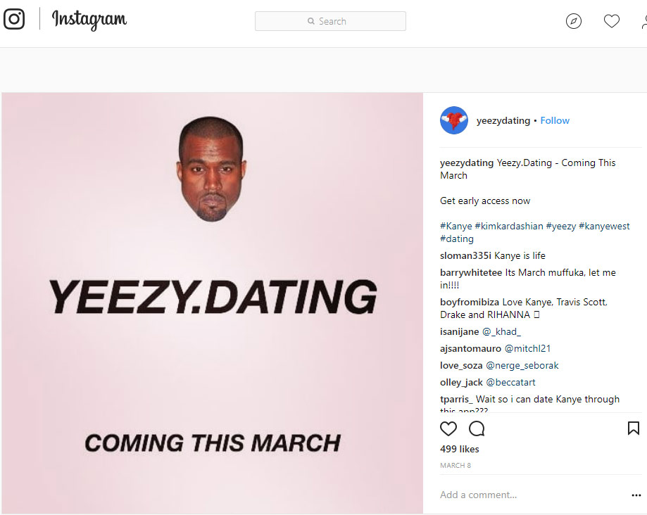 Yeezy Dating website on Instagram