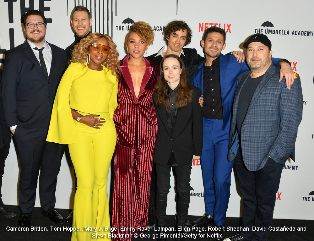 Steve Blackman with The Umbrella Academy cast at the Toronto premiere