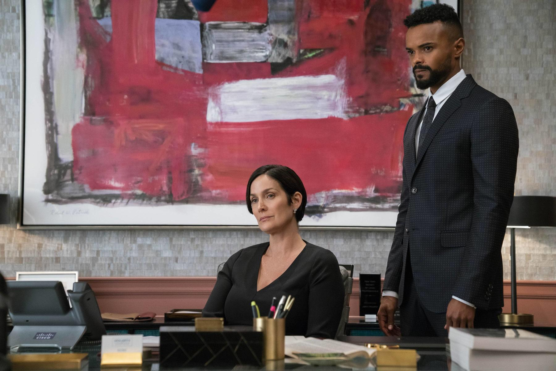 Carrie-Anne Moss and Eka Darville in Marvel's Jessica Jones