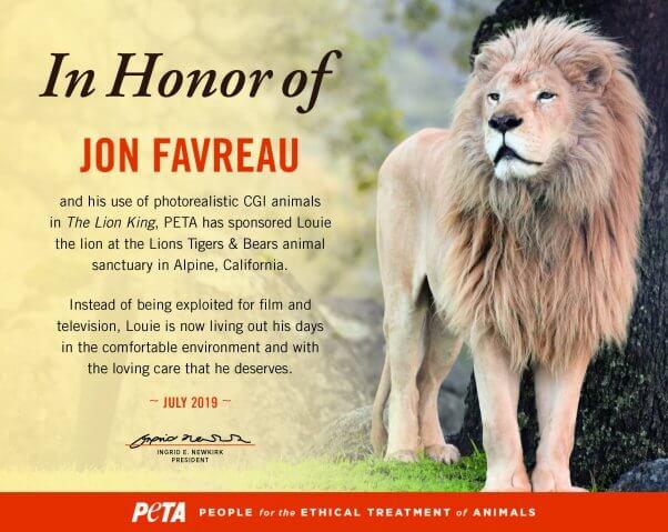 Jon Favreau honored by PETA