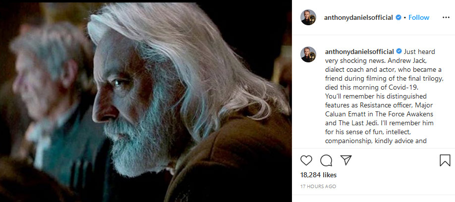 Andrew Jack remembered in Anthony Daniels' Instagram post