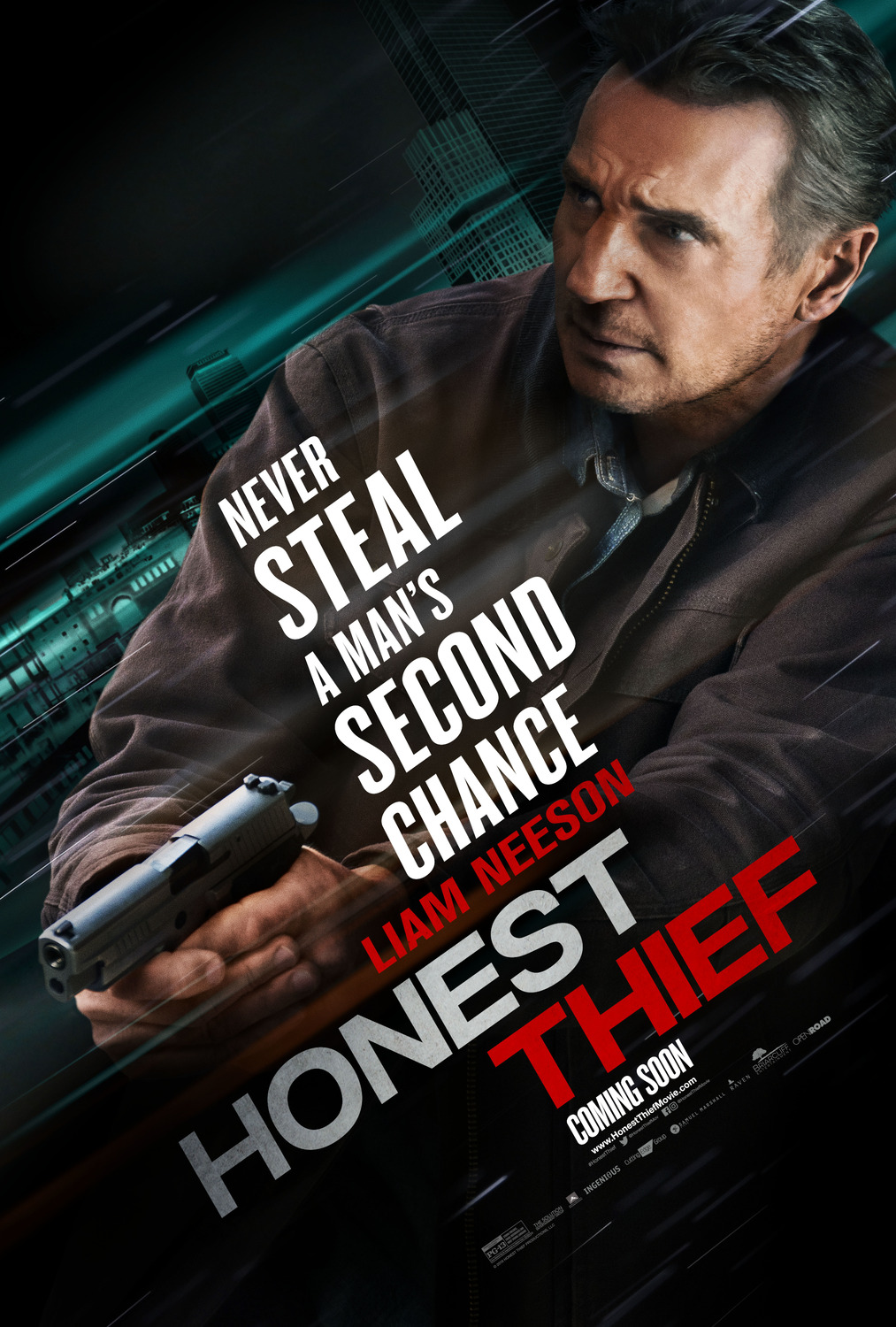 The Honest Thief poster starring Liam Neeson