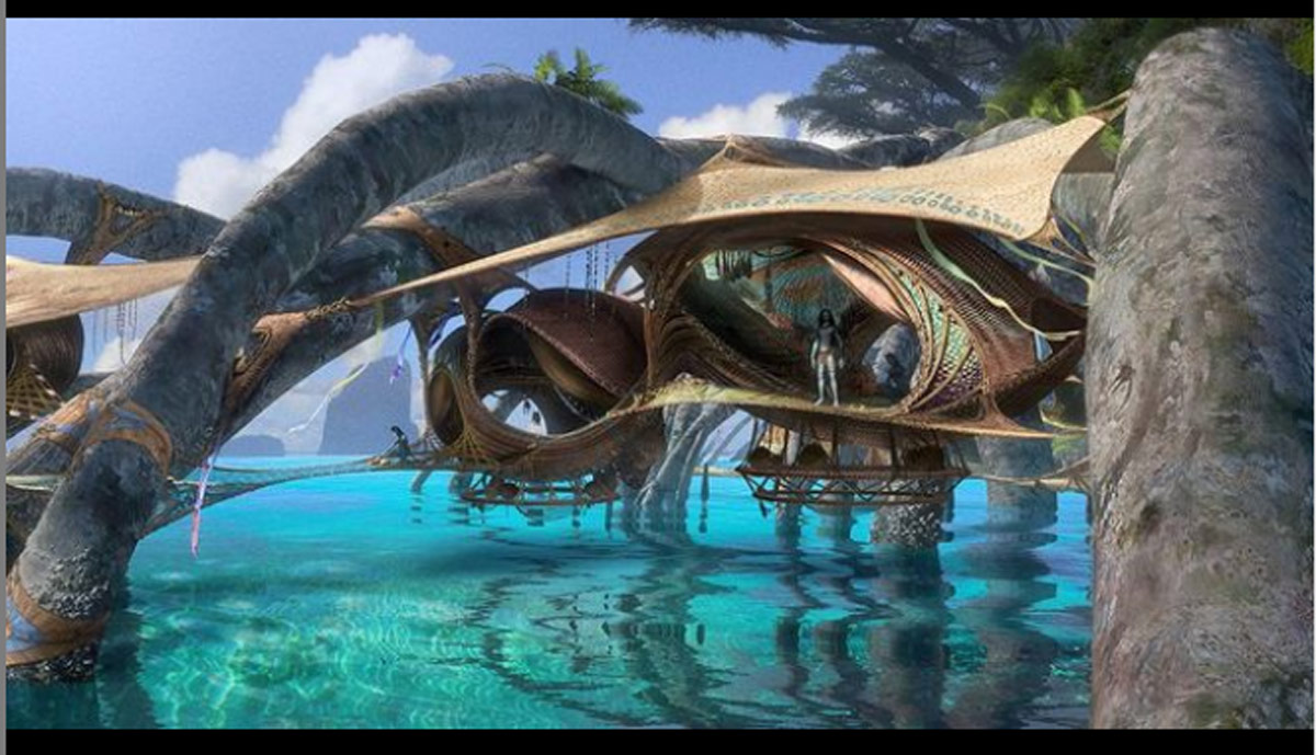 Concept illustration by artist Jonathan Bach of the Metkayina village