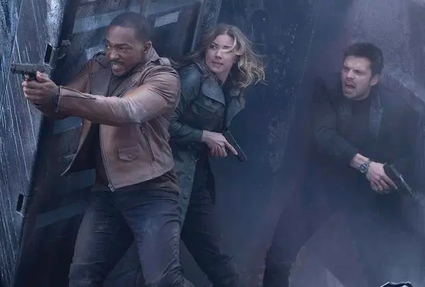 Anthony Mackie, Emily VanCamp and Sebastian Stan in Episode 3