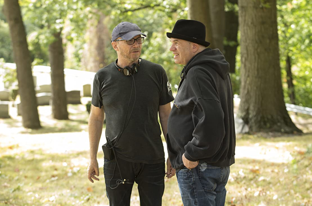 David Simon (r) with director Paul Haggis on the set of the 2015 HBO series Show Me a Hero